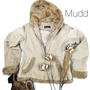 Mudd - Corduroy M Tan Beige Faux Fur Hooded Coat